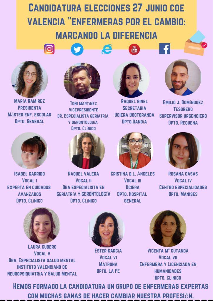 Candidatura elecciones 27 junio COE Valencia Enfermeras por el cambio: marcando la diferencia